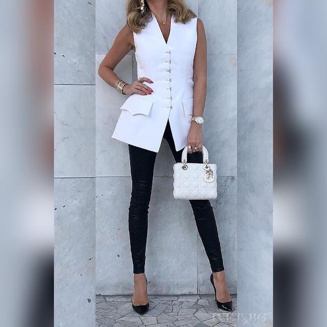 Αμάνικο άσπρο γυναικείο πουκάμισο REBECA WHITE
