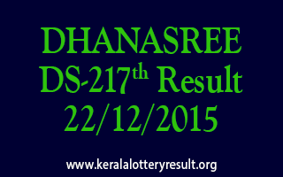 DHANASREE DS 217 Lottery Result 22-12-2015