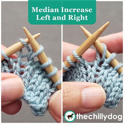 Knitting Tutorial: Learn how to knit a median increase that slants left and right