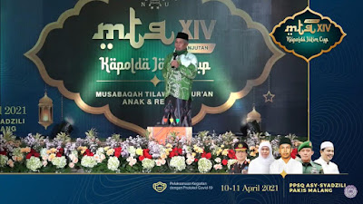 "Kiai Marzuki Mustamar Buka MTQ NU ""Kapolda Jatim Cup"""