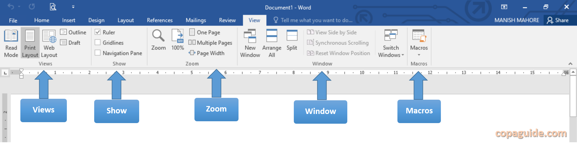 MS Word View Tab Commands