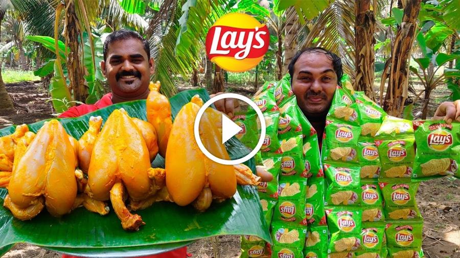 LAY'S CHICKEN | Crispy Lay's Chicken Roast | Lays fried chicken | World Food Tube