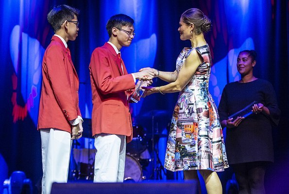 Crown Princess Victoria wore Maxjenny Stockholm Royal Pink Dress for presented Stockholm Junior Water Prize