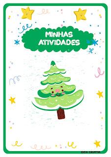 Capas de atividades com pinheirinhosde Natal