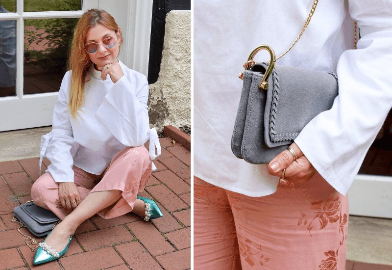 Streetstyle Outfit mit Rosa Culotte und weißer Bluse