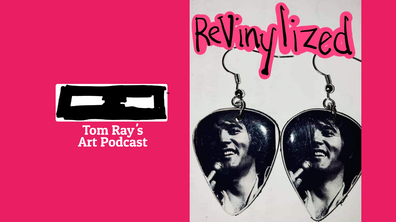 image with podcast logo and earrings