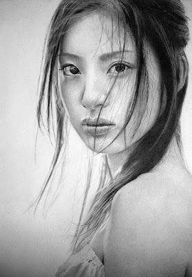 Rostros de Asiaticas Mujeres Bellas Dibujos Lapiz