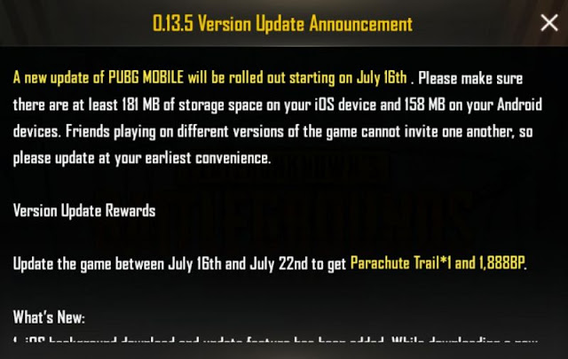 PUBG Mobile 0.13.5 Update Announcement