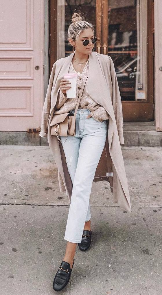 what to wear with a pair of jeans : coat + crossbody bag + knit cardi + loafers