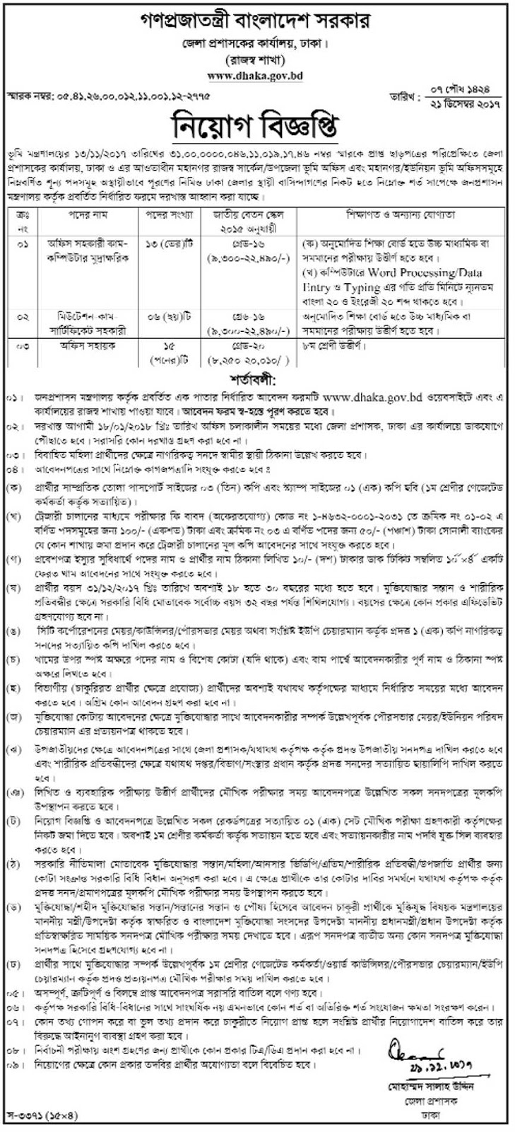 Deputy Commissioner's Office, Dhaka Job Circular 2017