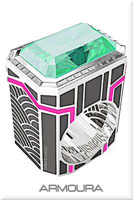 ♦Armoura Art Deco ring featuring large emerald and diamonds with neon pink and black enamel #jewelry #armoura #brilliantluxury