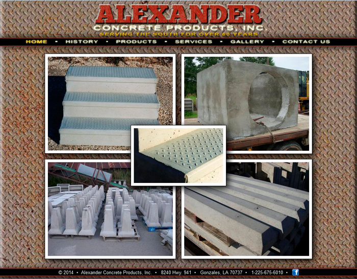 Home page for Alexander Concrete Products, Inc. in Brittany, Louisiana