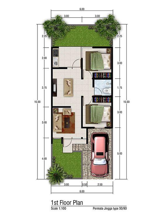 Desain Rumah Lebar 6 Meter Panjang 15 Meter : desain, rumah, lebar, meter, panjang, Koleksi, Denah, Rumah, Minimalis, Ukuran, Meter