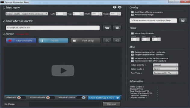 برنامج Screen Recorder Free لتصوير سطح المكتب صوت وصورة