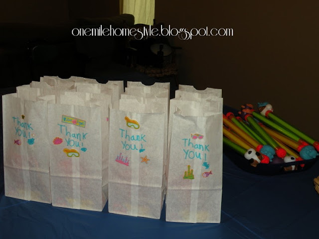 Water theme birthday party guest favors