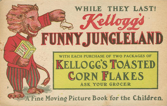 Kellogg's, Funny Jungleland Moving Pictures Booklet advertising 1909