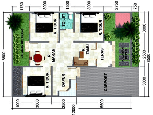20 Contoh Gambar Denah Rumah Minimalis 3 Kamar Tidur Masa Kini Disain Rumah Kita