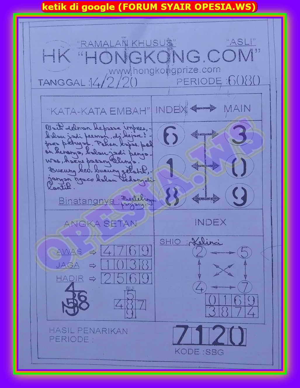 Kode syair Hongkong Jumat 14 Februari 2020 28