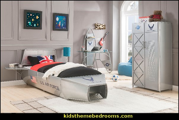 Aeronautic Storage Metal Bed  outerspace bedroom furniture kids space themed bedroom decor