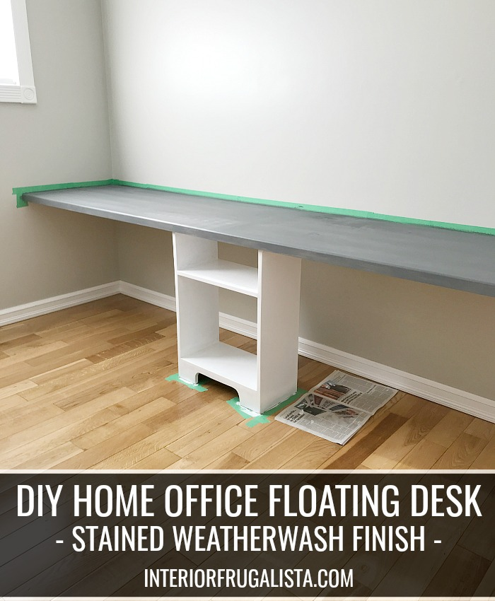 White And Grey Weathered DIY Floating Desk