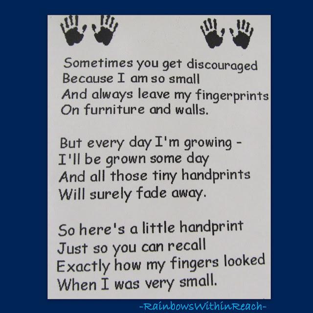 photo of: Handprint poem for Preschool Keepsake