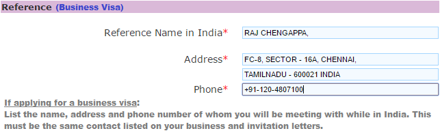 reference details for indian business visa