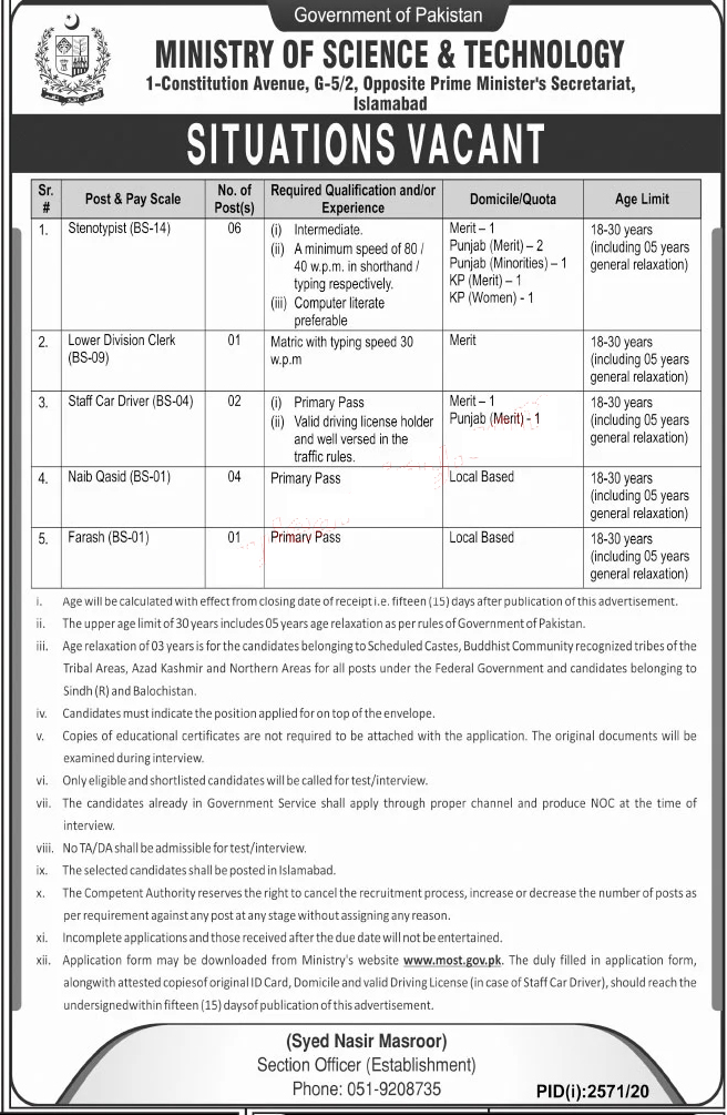 Government Jobs 2020 in Ministry of Science and Technology Islamabad