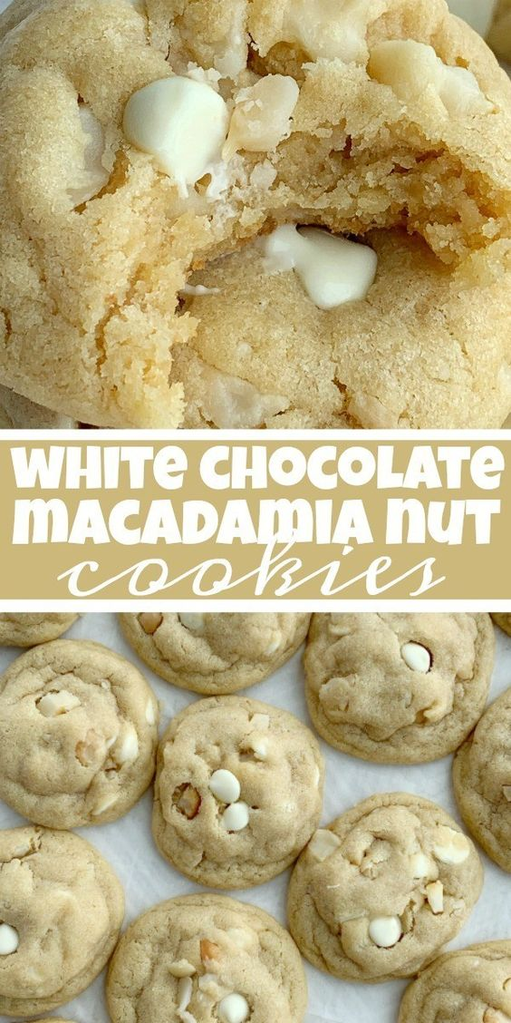 White Chocolate Macadamia Nut Cookies are thick, sweet, and stay soft for days thanks to the white chocolate pudding mix! A brown sugar cookie base loaded with white chocolate chips and macadamia nuts.