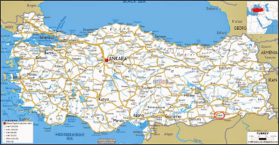 Mapa rodoviário localização Mardin – Turquia