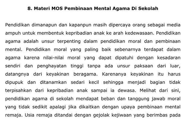 Materi MPLS Pembinaan Mental Agama Di Sekolah