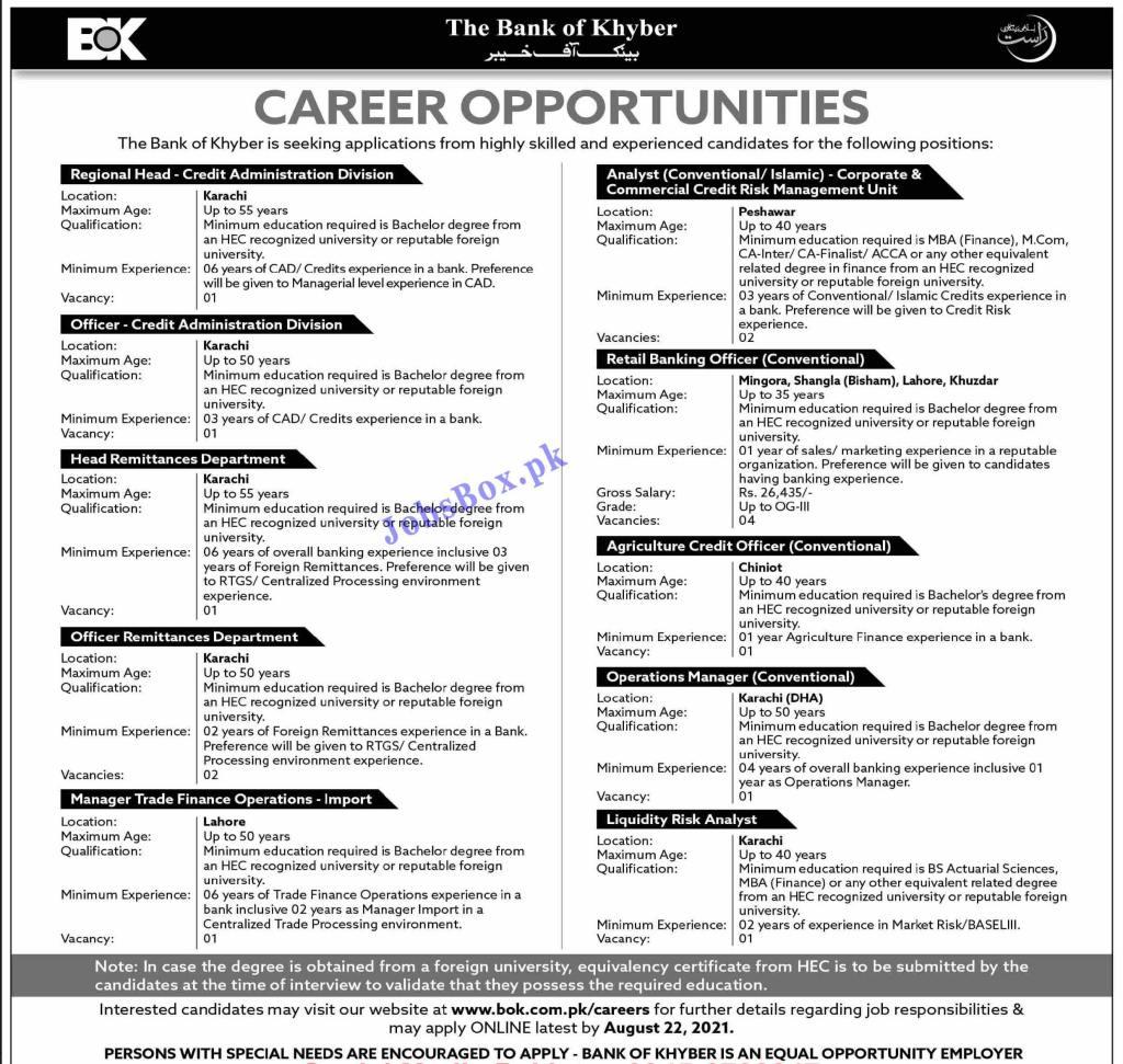 Bank of Khyber BOK Jobs 2021 Latest – Apply Online via www.bok.com.pk