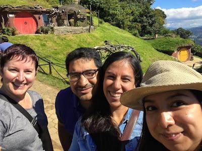 four friends at Hobbitenango in Guatemala