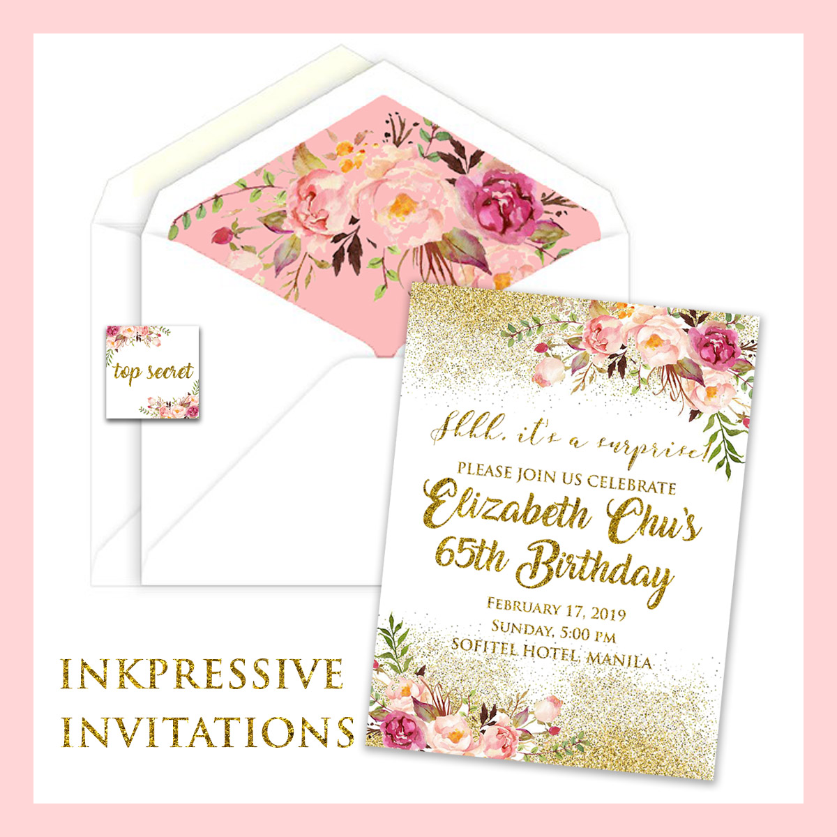 pink gold watercolor floral 65th