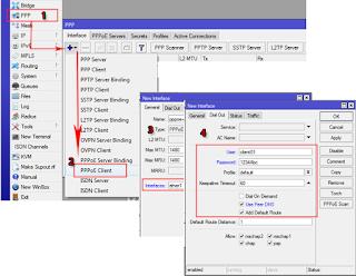 PPPoE Client melalui Winbox