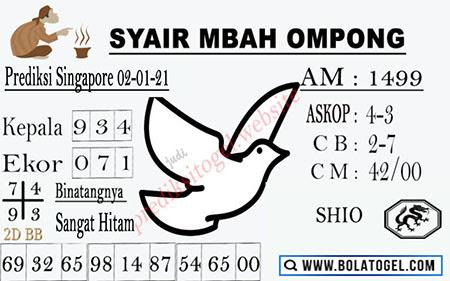 Syair Mbah Ompong SGP Sabtu 02 Januari 2021