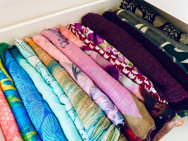 Scarfs all put away neatly in a drawer after following my 5 step winter refresh plan