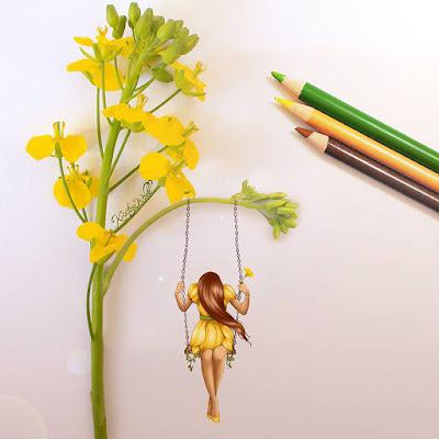 Ilustración de mujer en columpio con flores