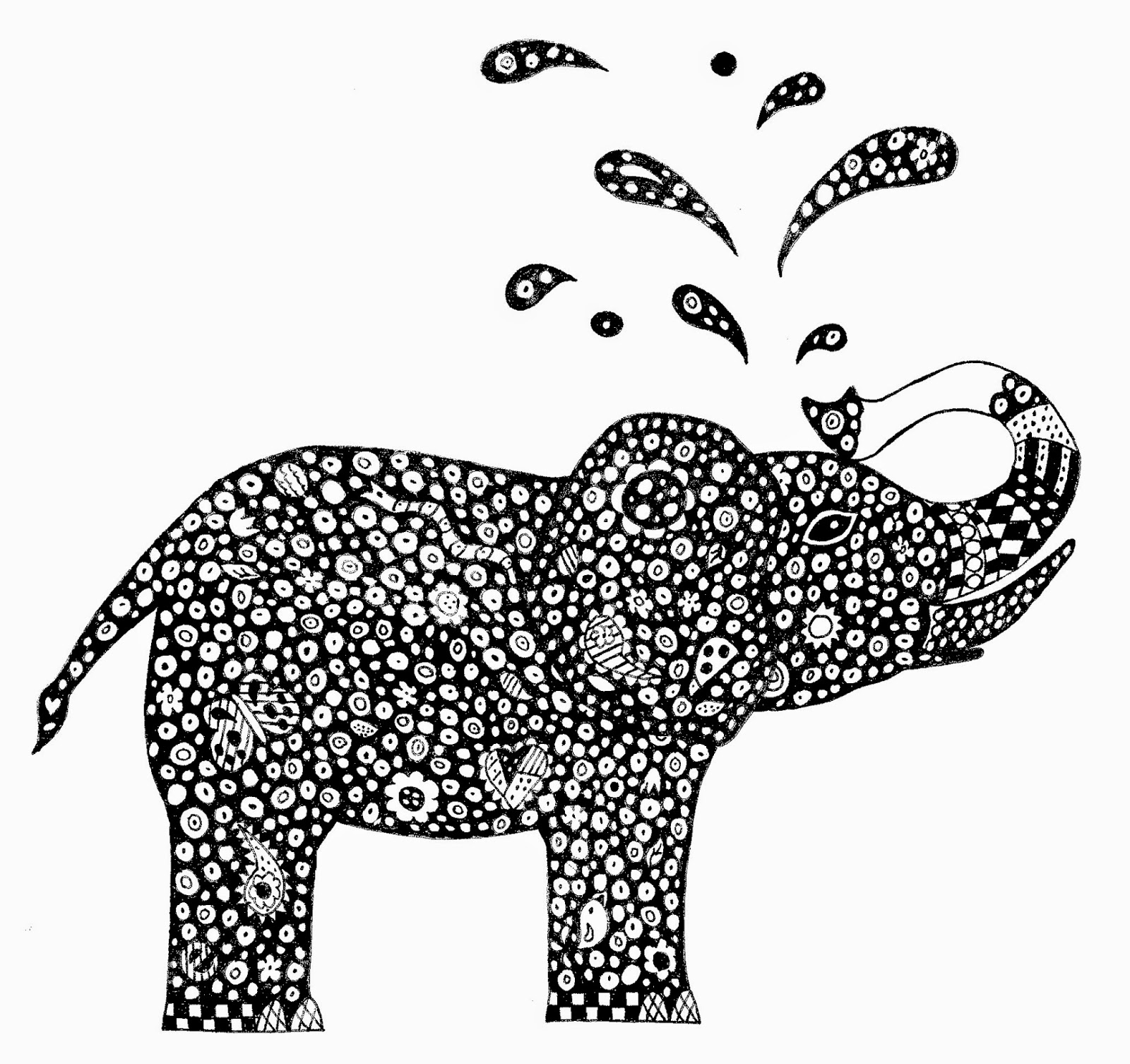 Free zentangle elephant coloring pages ~ A Time For All Seasons: Zendoodling