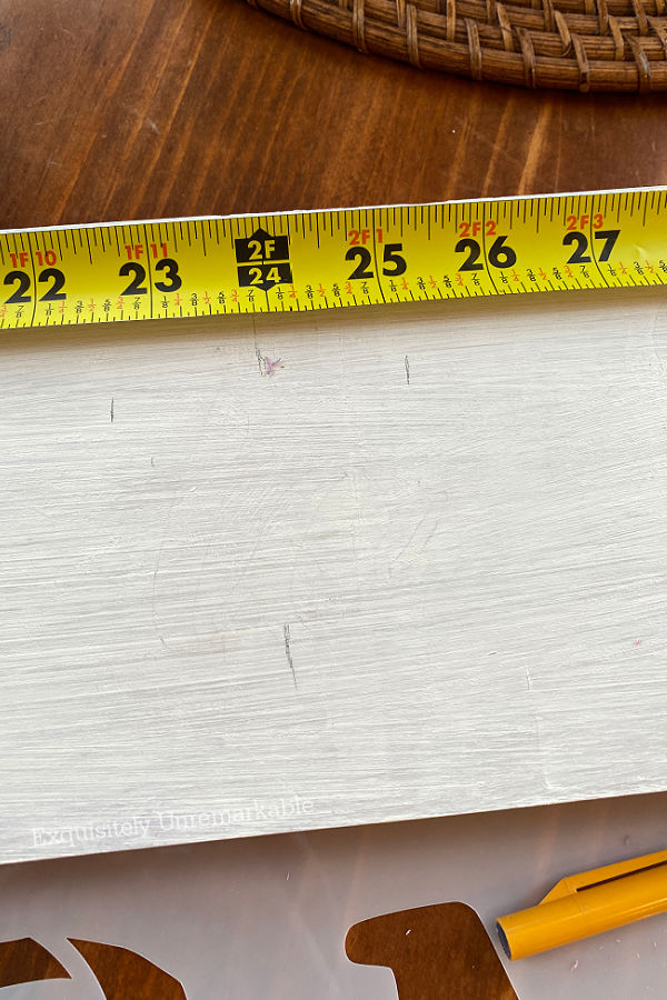 Measuring Letter Spacing with a tape measure and pencil