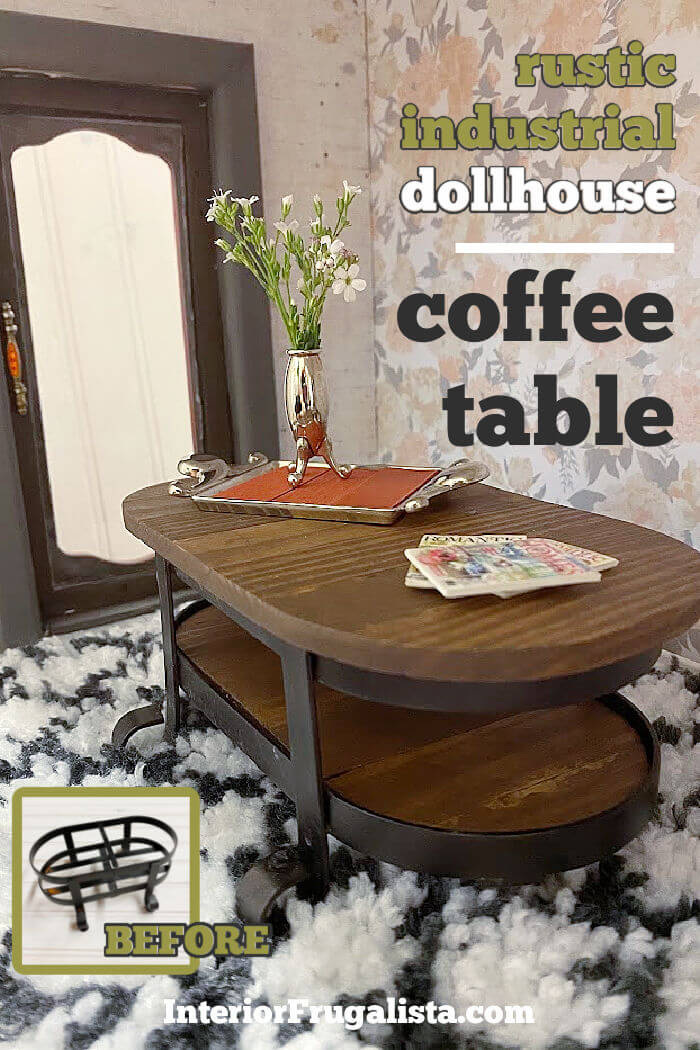 How to repurpose a bathroom metal soap and lotion dispenser caddy into an adorable rustic industrial-style dollhouse coffee table with wood slat top. #dollhousefurniturediy #dollhousediyideas #miniaturecoffeetablediy #industrialstylefurniturediy