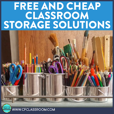 After you declutter your classroom, you'll be ready to bring in some storage solutions. If you are on a tight budget or just don't want to spend any more of your hard-earned money on your classroom, then check out these tips and ideas for classroom storage from the Clutter-Free Classroom! #cheapstorage #cheapcontainers #classroomstorage #clutterfreeclassroom