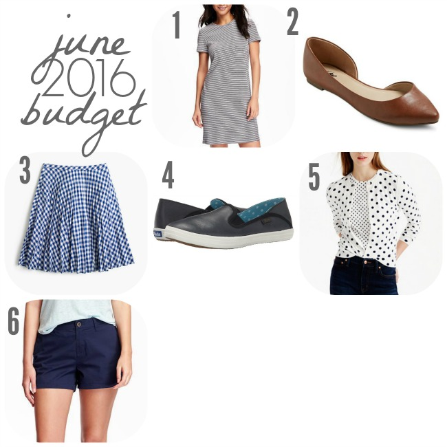 June 2016 Budget | Something Good, old navy striped dress, old navy twill shorts, target flats, gingham skirt, j.crew