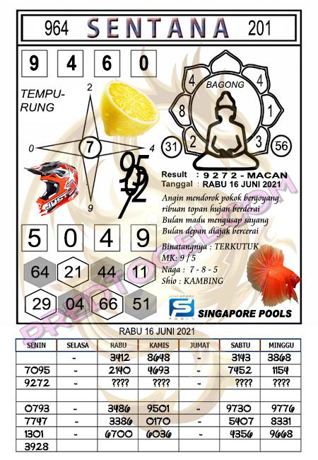 Syair Sentana Singapura rabu 16-juni-2021