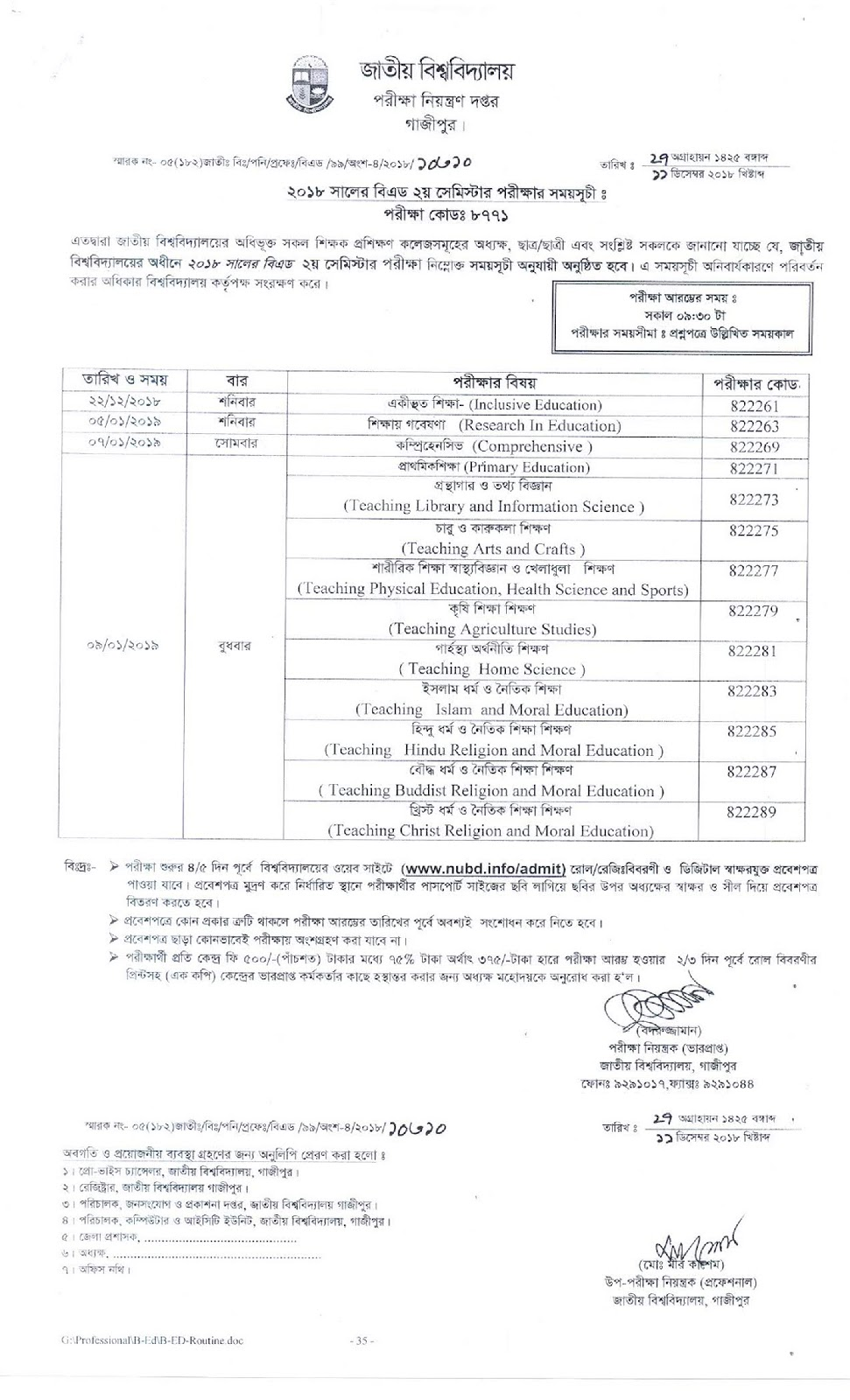 Nu B.ed Exam 2018 Routine 2nd Semester 2019 | Edu bd news