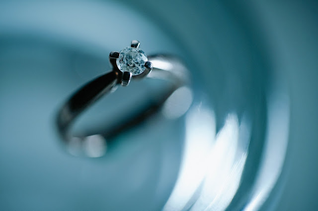 Close up shot of a ring with a blue backdrop, viewed from the top.