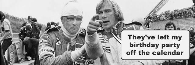 James Hunt complaining they missed his birthday party off the calendar