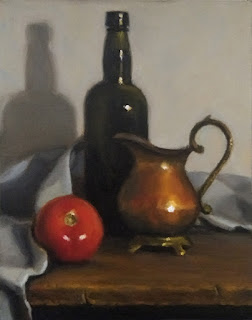 Still life oil painting of a tomato, a copper jug, an antique whisky bottle surrounded by a sheet.
