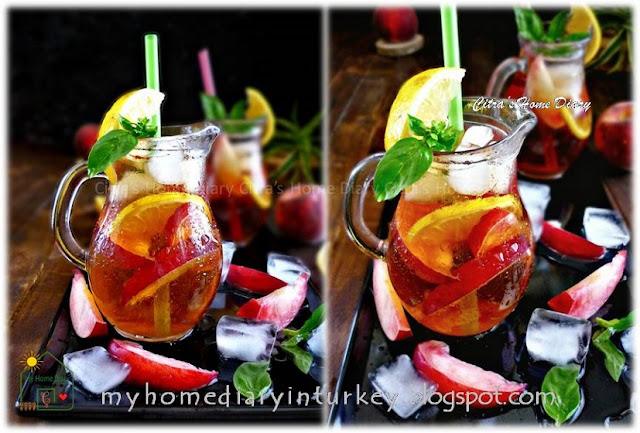Easy Peach Iced Tea, Perfect summer drinks | Çitra's Home Diary. #peachrecipe #peachicedtea #nonalcoholbeverage #icedtea #summerdrinks #coldbeverages #estehbuahpersik #şeftaliçay