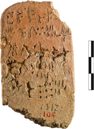 Corazza et al, 2020. Fig. 2. Linear A clay tablet HT 104 (Contains a sum and its total: 45 + J + 20 Jdot + 29 = 95.)