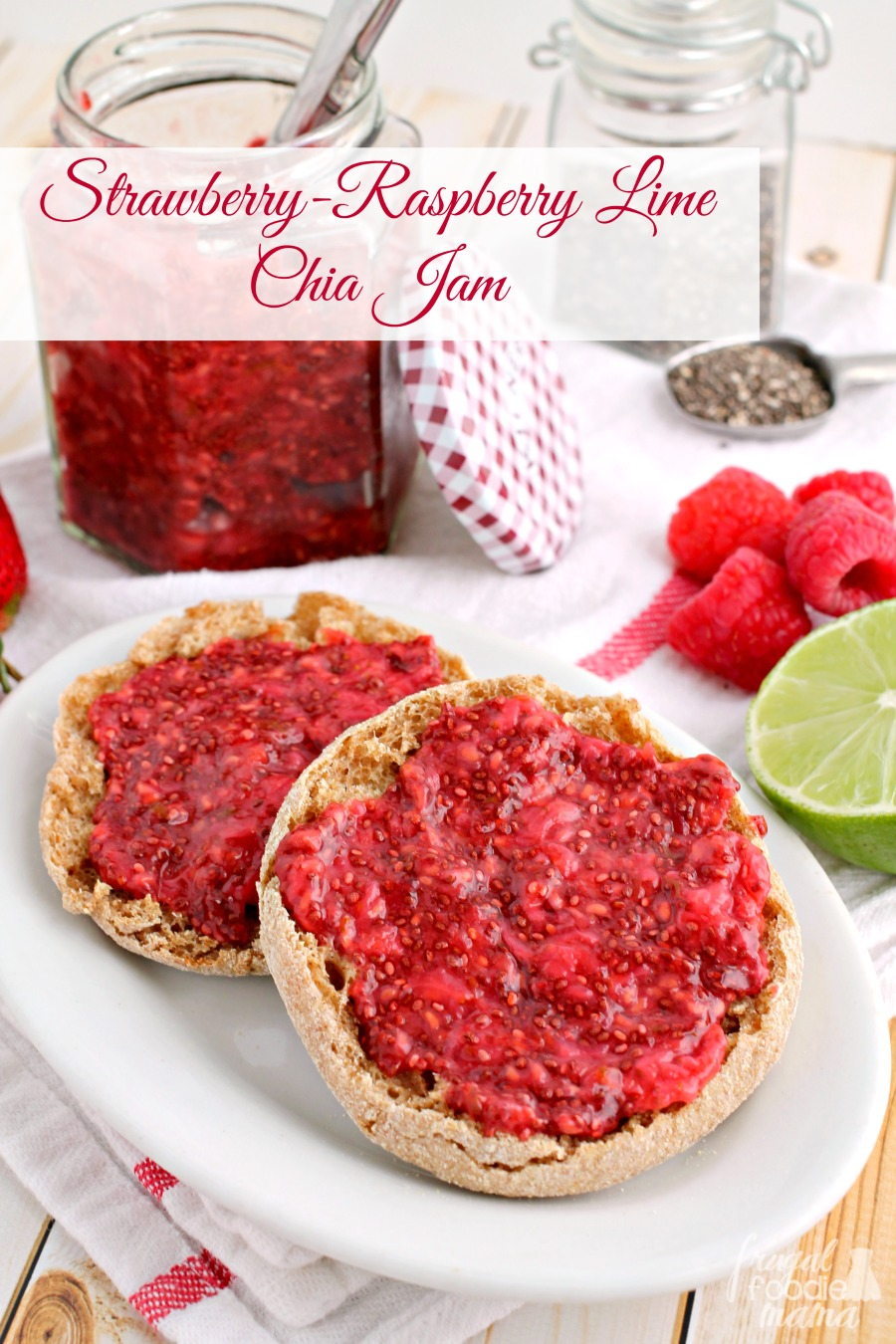 This easy to make & low-sugar Strawberry-Raspberry Lime Chia Jam is ...